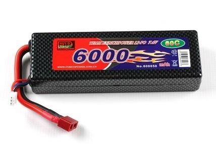 Batteri, 7,4 6000 Mah, Hard Box Lipo