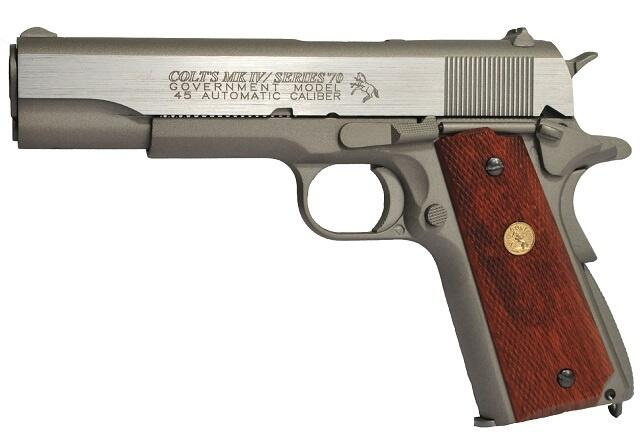 Børstet stål look SOFTGUN. COLT 1911 SERIES 70™ SILVER