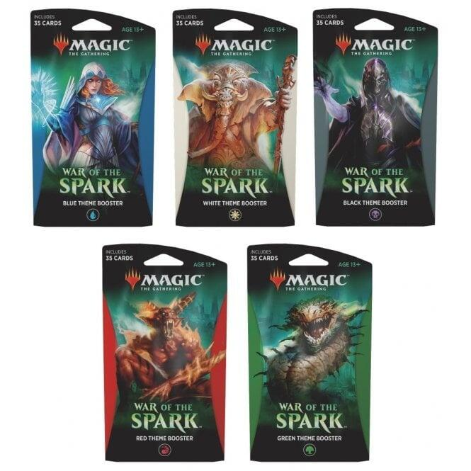 Her ses alle war of the spark theme boosters samlet