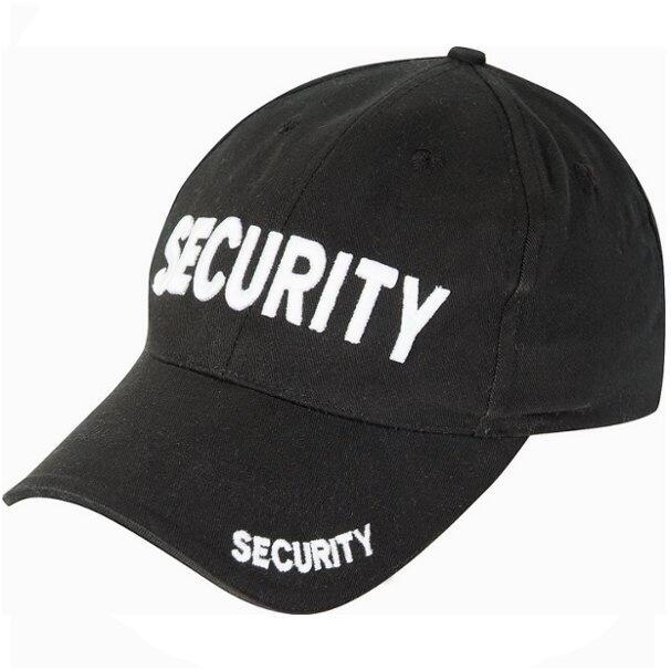Fed sort baseball cap med 3 gange security på kasketten