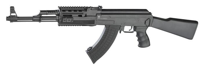 Sort Kalashnikov AK47 tactical hardball riffel som kommer med 2 magasiner