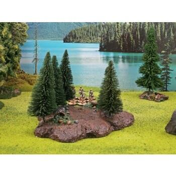 Ziterdes - Forest Base with 10 Trees Tabletop Terrain, removable top - lækkert scenarie til rollespil,  hvor toppen kan fjernes