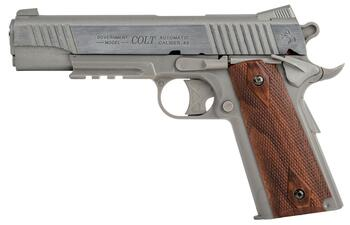 COLT 1911 Rail Gun, Stainless Steel, Fixed Metal Slæde Hardball Pistol