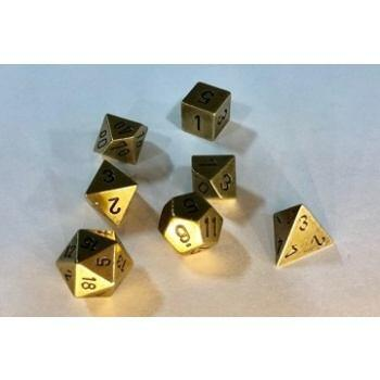 Chessex Deluxe Rollespilsterningsæt - Metal i Messingfarve